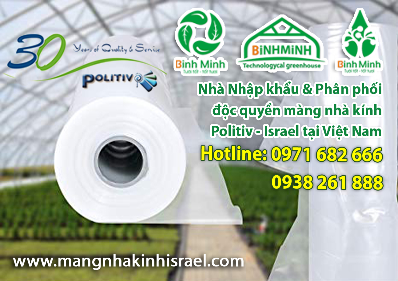 Màng nhà kính Politiv - Israel 200 Micron khổ rộng 9m
